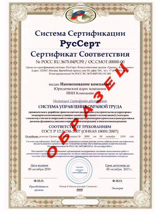 стоимость OHSAS 18001 в Грозном